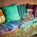 cuscini fatti con il riciclo delle stoffe